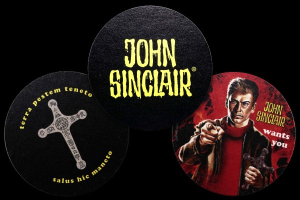 Bierdeckel Set II (John wants you, das Kreuz des Hesekiel, John Sinclair Logo)